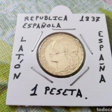 Monedas República: MONEDA 1 PESETA REPÚBLICA ESPAÑOLA 1937 MBC ENCARTONADA. Lote 226240978