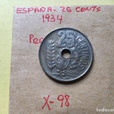 Monedas República: X-98 )ESPAÑA,,25 CENTIMOS 1934 EN ESTADO MUY BUENO,,. Lote 218174712