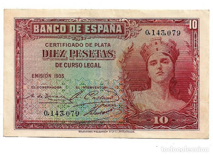 10 PESETAS REPUBLICA . SIN CIRCULAR. SIN SERIE . NUMERO MUY BAJO (Numismática - España Modernas y Contemporáneas - República)