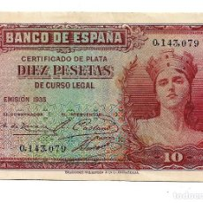 Monedas República: 10 PESETAS REPUBLICA . SIN CIRCULAR. SIN SERIE . NUMERO MUY BAJO. Lote 218492001