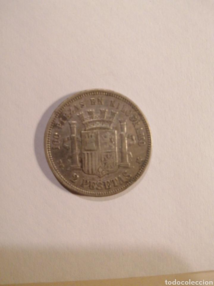 Monedas República: 1870 2 pesetas plata D. E. M. ESTRELLA 1873 - Foto 2 - 218929251