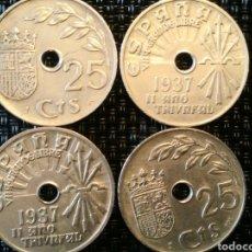Monedas República: LOTE 4 MONEDAS 25 CENTIMOS 1937 II AÑO TRIUNFAL ESPAÑA. Lote 219407457