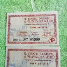 Monedas República: LOTE DOS BILLETES DE UNA PESETA DEL CONSELL MUNICIPAL DE VIANOVA Y LA GELTRU DE 1937. SERIE B.. Lote 220489176