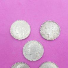 Monedas República: LOTE 5 MONEDAS DE 1 PESTAÑA DE 1937 , REPUBLICA ESPAÑOLA. Lote 221598266