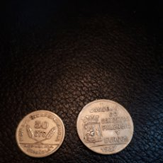 Monedas República: MONEDA DE 50 CTS Y 1 PESETA AÑO 1937 CONSEJO DE SANTANDER PALENCIA Y BURGOS. Lote 221621546