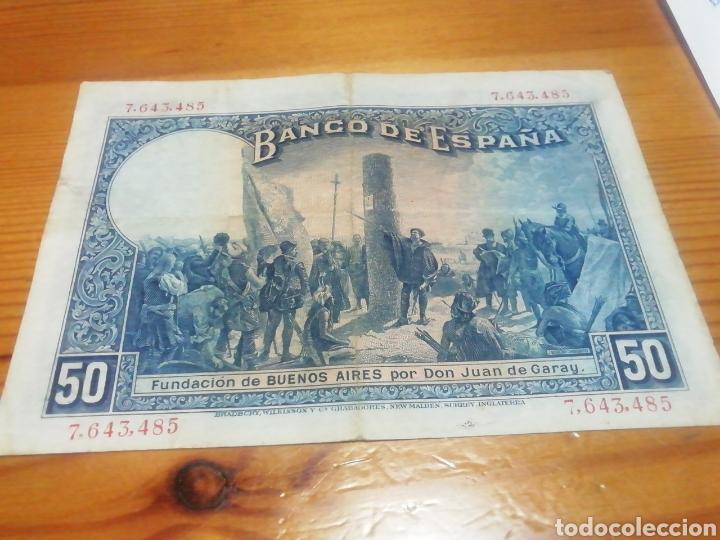 Monedas República: Billete de 50 pesetas de 1927 muy bien conservado - Foto 2 - 221841961
