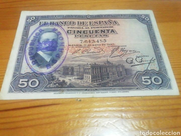 BILLETE DE 50 PESETAS DE 1927 MUY BIEN CONSERVADO (Numismática - España Modernas y Contemporáneas - República)