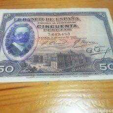 Monedas República: BILLETE DE 50 PESETAS DE 1927 MUY BIEN CONSERVADO. Lote 221841961