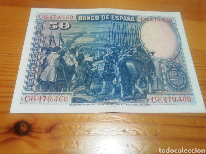 Monedas República: Billete de 50 pesetas de 1928 impecable - Foto 2 - 221842620