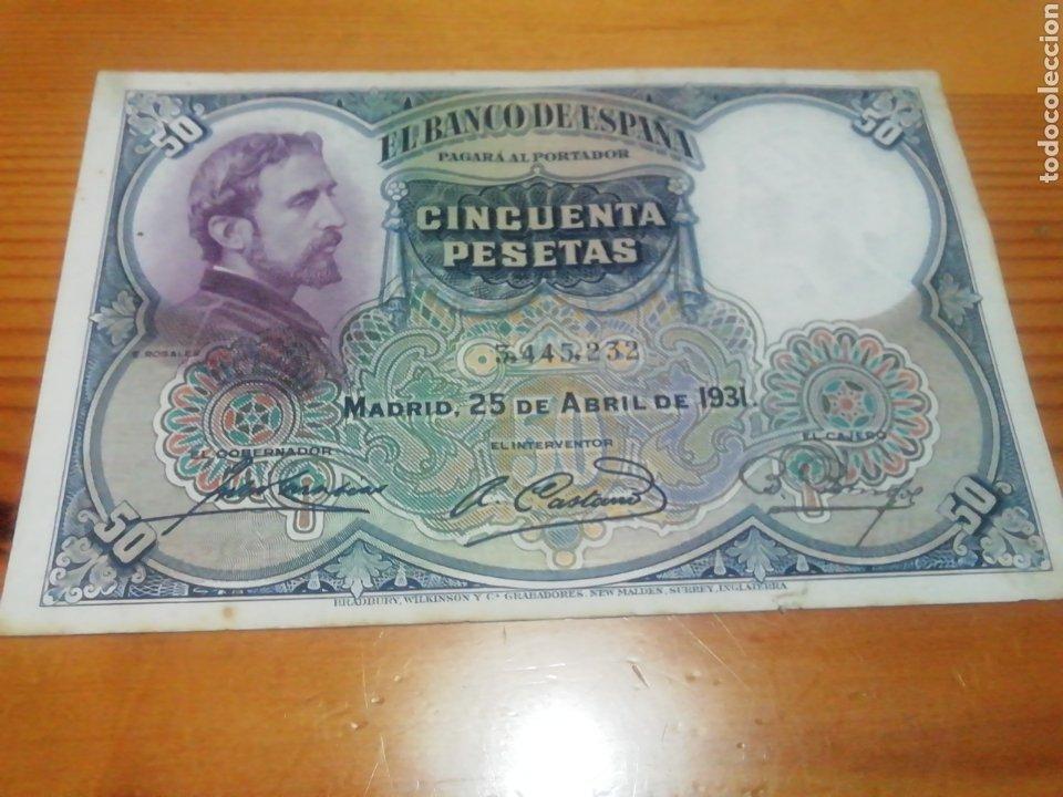 BILLETE DE 50 PESETAS DE 1931 IMPRESIONANTE (Numismática - España Modernas y Contemporáneas - República)