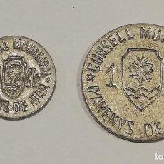 Monedas República: FICHAS LOCALES ARENYS DE MAR - MONEDA GUERRA CIVIL - 2UNID - BARCELONA. Lote 222421722