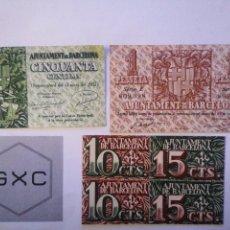 Monedas República: BITLLETS PESSETES I CÈNTIMS DE BARCELONA. 1937. SENSE CIRCULAR.. Lote 222474882