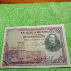 Monedas República: BILLETE DE 50 PESETAS DE 1928. USADO.. Lote 222711586