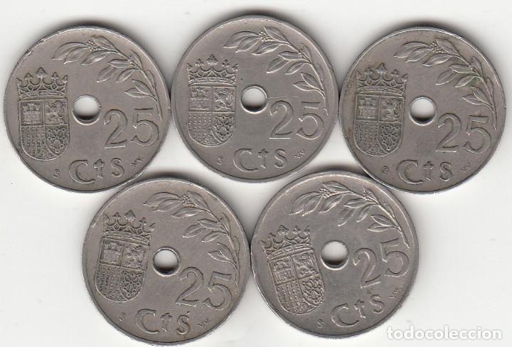 Monedas República: II REPUBLICA: LOTE 5 MONEDAS - 25 CENTIMOS 1937 - Foto 2 - 223821435
