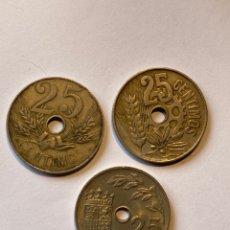 Monedas República: 3 MONEDAS DE 25 CÉNTIMOS ESPAÑOLAS DISTINTAS AÑOS 1927, 1934 Y 1937. Lote 224573002