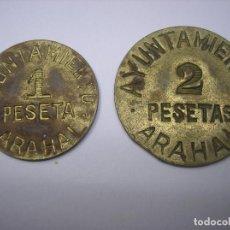 Monedas República: AYUNTAMIENTO DE ARAHAL, SEVILLA. 1 Y 2 PESETAS DE LATÓN . PERIODO DE LA GUERRA CIVIL. Lote 230396985