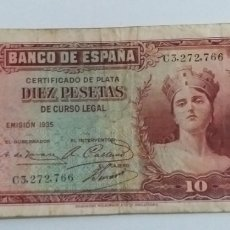 Monedas República: 1 BILLETE 10 PESETAS 1935. Lote 232173295