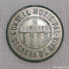 Monedas República: 1 PESETA CONSELL MUNICIPAL SEGARRA DE GAIA 1937. Lote 233449015