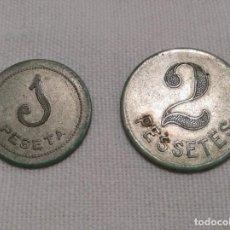 Monedas República: 2 FICHAS MONETARIAS DE LA GUERRA CIVIL, 1 PESETA Y 2 PESETAS DE L'ESQUIROL. Lote 233450380