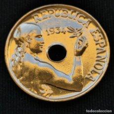 Monete Repubblica: A13. BAÑO ORO 24KT!!! 25 CÉNTIMOS 1934. VER DESCRIPCIÓN. Lote 233466020