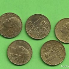 """Monedas República: 5 MONEDAS DE 1 PESETA 1937 """"LA RUBIA"""" SIN CIRCULAR. II REPÚBLICA. Lote 234968685"""