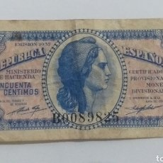 Monedas República: BILLETE 50 CÉNTIMOS 1937 REPUBLICA ESPAÑOLA. Lote 236469875