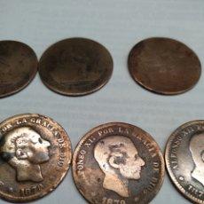 Monedas República: LOTE DE 13 MONEDAS DE CINCO CÉNTIMOS: 1870, 1879. Lote 237059650
