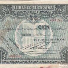 Monnaies République: BILLETE: 100 PESETAS 1937 BANCO ESPAÑA BILBAO / BANCO VIZCAYA - 483185. Lote 240992565