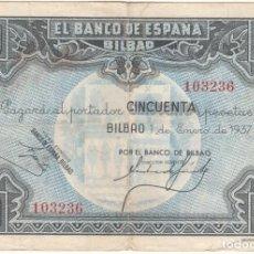 Monnaies République: BILLETE: 50 PESETAS 1937 BANCO ESPAÑA BILBAO / BANCO BILBAO - 103236 -. Lote 240995810