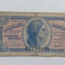 Monedas República: BILLETE DE 50 CÉNTIMOS 1937. Lote 244428695