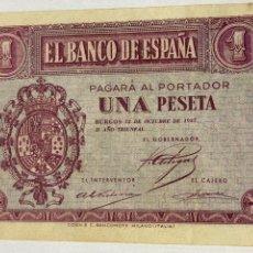Monedas República: BILLETE. UNA PESETA. 1937. BURGOS 12 DE OCTUBRE ROSA SERIE D BUENA CONSERVACIÓN. Lote 244964570