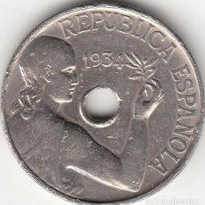 Monedas República: II REPUBLICA: 25 CENTIMOS 1934. Lote 244965780