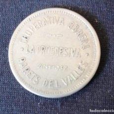 Monedas República: 25 CENTIMOS PARETS DEL VALLES COOPERATIVA OBRERA LA PROGRESIVA AÑO 1937. Lote 244970355