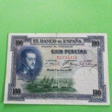 Monedas República: UN BILLETE DE 100 PESETAS DE 1925. USADO.. Lote 245241930