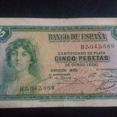 Monedas República: BILLETE DE 5 PESETAS ESPAÑA AÑO 1935. Lote 246017110