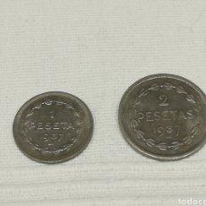 Monedas República: 1 PESETA Y 2 PESETAS 1937 GOBIERNO DE EUZKADI. Lote 246354300