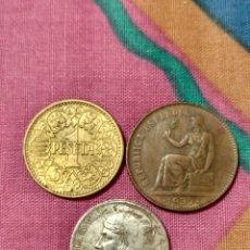 Monedas República: X- DOS 50 CÉNTIMOS II REPUBLICA 1937 Y PESETA 1944 FRANCO. Lote 250347455