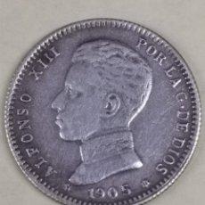 Monedas República: MONEDA DE PLATA 1 PESETA DE ALFONSO XIII AÑO 1905 *05 MUY BIEN CONSERVADA ( ESCASA). Lote 253354905