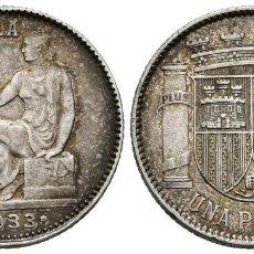 Monedas República: REPÚBLICA ESPAÑOLA (1931-1939). 1 PESETA (AR.) 1933 (*3-*4). MADRID. EBC+/SC-. BONITA PÁTINA.. Lote 253862365