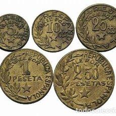 Monedas República: MENORCA. SERIE COMPLETA. LOS CINCO FACIALES 1937. EBC+ LOTE DE CINCO PIEZAS (5).. Lote 254275415