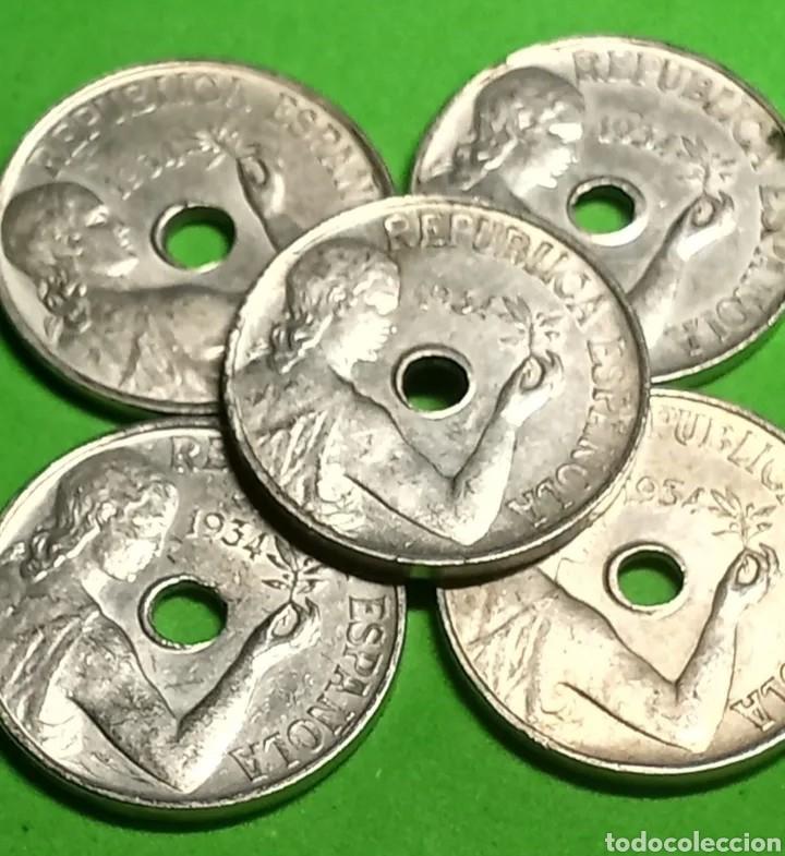 LOTE DE 5 MONEDAS DE 25 CENTIMOS DE 1934. MUY BIEN CONSERVADAS (Numismática - España Modernas y Contemporáneas - República)