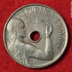 Monedas República: MONEDA 25 CENTIMOS REPUBLICA 1934 EBC ORIGINAL C4. Lote 258971225