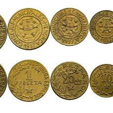 Monedas República: EMISIONES LOCALES. MENORCA. SERIE DE LAS 5 PIEZAS DE 5 CTMOS A 2,50 PESETAS. EBC+/SC-. Lote 260322100