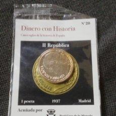 Monedas República: MONEDA 1 PESETA 1937 REPÚBLICA ESPAÑOLA ACUÑADA X LA REAL CASA DE LA MONEDA BAÑADA EN ORO PURO. Lote 260594390