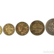 Monedas República: EMISIONES LOCALES GUERRA CIVIL, SERIE 5 MONEDAS 5 CÉNTIMOS A 2,50 PESETAS, 1937, C.M. DE MENORCA. Lote 262522605