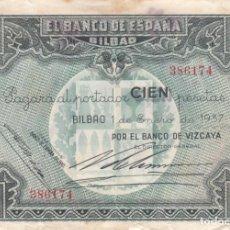 Monedas República: BILLETE: 100 PESETAS 1937 BANCO ESPAÑA BILBAO / BANCO VIZCAYA - 386174. Lote 262679115