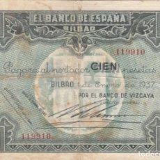 Monedas República: BILLETE: 100 PESETAS 1937 BANCO ESPAÑA BILBAO / BANCO VIZCAYA - 119910. Lote 262679570