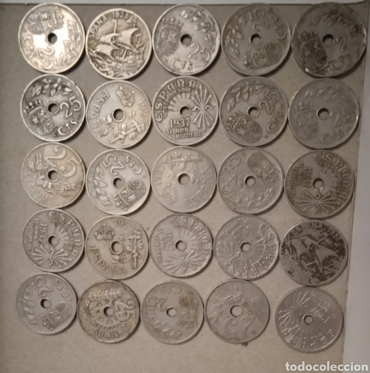 Monedas República: Lote de 25 monedas de 25 centimos España - Foto 3 - 264102835