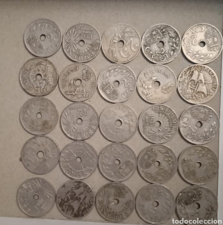Monedas República: Lote de 25 monedas de 25 centimos España - Foto 9 - 264102835