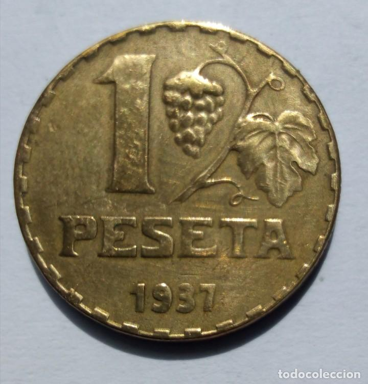 Monedas República: España II República Gobierno de España 1 peseta 1937 - Foto 2 - 264762199
